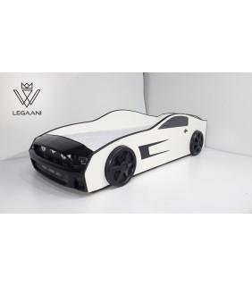 ბავშვის საწოლი მანქანა თეთრი-შავი